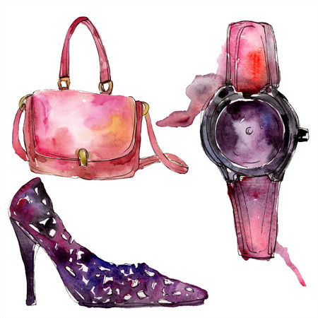 Watch, bag and shoe sketch fashion glamour illustration in a watercolor style. Clothes accessories set trendy vogue outfit. Aquarelle sketch for background. Watercolour drawing aquarelle isolated. Stock Photo