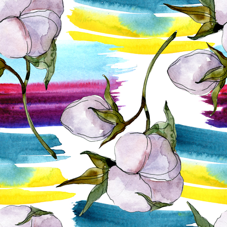 Cotton floral botanical flower. Wild spring leaf wildflower isolated. Watercolor background illustration set. Watercolour drawing fashion aquarelle isolated. 스톡 콘텐츠