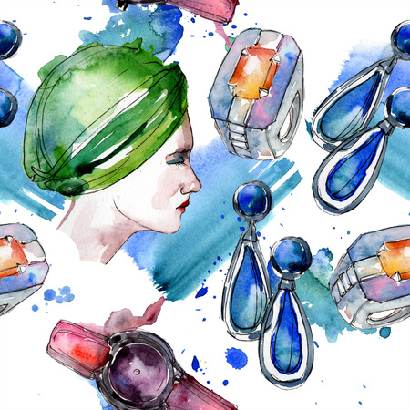 Clothes accessories set trendy vogue outfit. Watercolor background illustration set. Watercolour drawing fashion aquarelle. Seamless background pattern. Fabric wallpaper print texture. Banco de Imagens