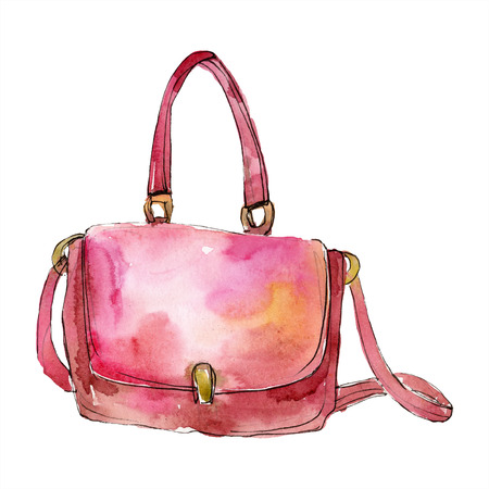Bag sketch fashion glamour illustration in a watercolor style. Clothes accessories set trendy vogue outfit. Aquarelle fashion sketch for background. Watercolour drawing aquarelle isolated.