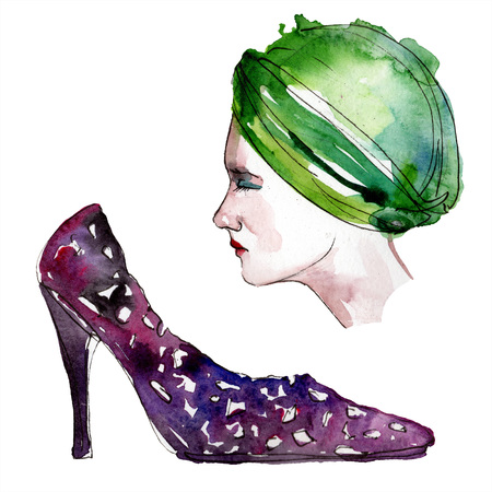 Hat and shoe sketch fashion glamour illustration in a watercolor style. Clothes accessories set trendy vogue outfit. Aquarelle fashion sketch for background. Watercolour drawing aquarelle isolated.