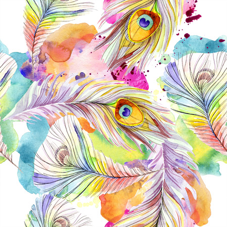 Colorful bird feather from wing isolated. Watercolor background illustration set. Watercolour drawing fashion aquarelle isolated. Seamless background pattern. Fabric wallpaper print texture. Zdjęcie Seryjne