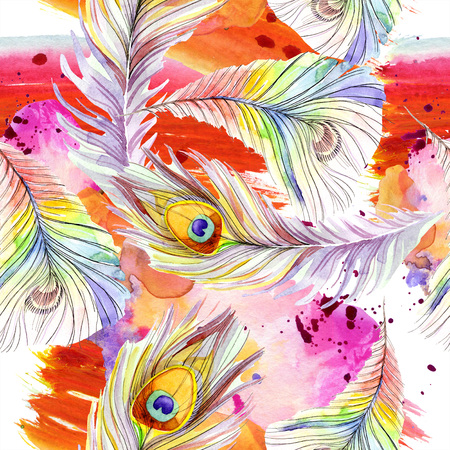 Colorful bird feather from wing isolated. Watercolor background illustration set. Watercolour drawing fashion aquarelle isolated. Seamless background pattern. Fabric wallpaper print texture. Фото со стока