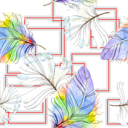 Colorful bird feather from wing isolated. Watercolor background illustration set. Watercolour drawing fashion aquarelle isolated. Seamless background pattern. Fabric wallpaper print texture. 写真素材