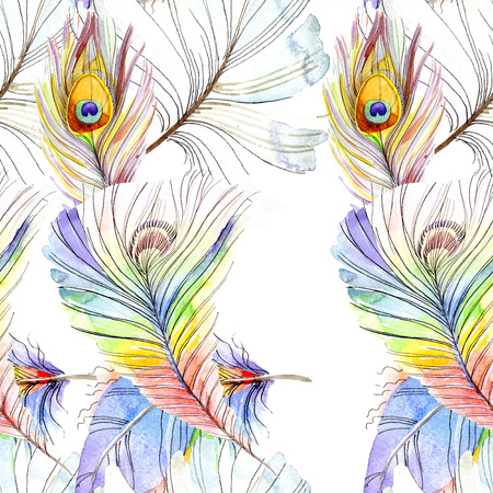 Colorful bird feather from wing isolated. Watercolor background illustration set. Watercolour drawing fashion aquarelle isolated. Seamless background pattern. Fabric wallpaper print texture. Stock Photo