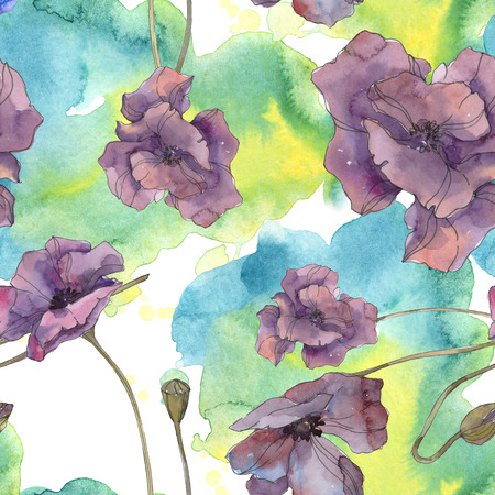 Red and purple poppy floral botanical flower. Wild spring leaf isolated. Watercolor illustration set. Watercolour drawing aquarelle. Seamless background pattern. Fabric wallpaper print texture.