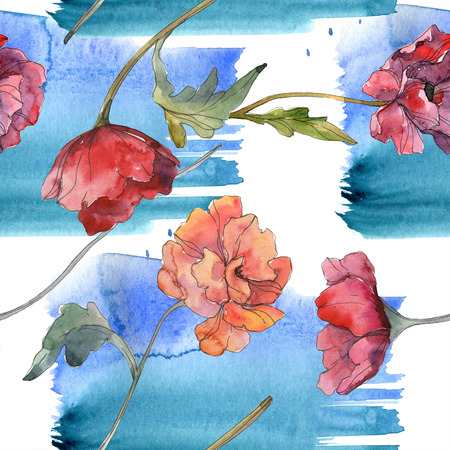 Red poppy floral botanical flower. Wild spring leaf. Watercolor illustration set. Watercolour drawing fashion aquarelle isolated. Seamless background pattern. Fabric wallpaper print texture.