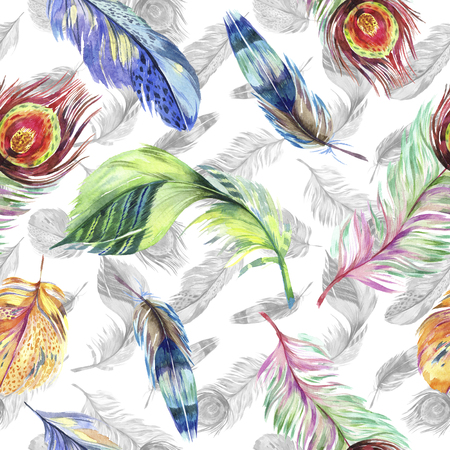 Colorful bird feather from wing. Watercolor background illustration set. Watercolour drawing fashion aquarelle isolated. Seamless background pattern. Fabric wallpaper print texture. Фото со стока