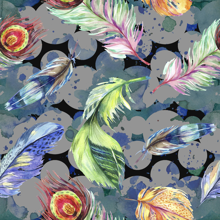 Colorful bird feather from wing. Watercolor background illustration set. Watercolour drawing fashion aquarelle isolated. Seamless background pattern. Fabric wallpaper print texture. 写真素材