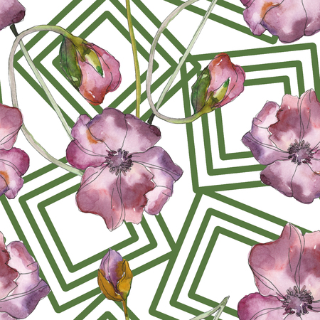 Purple red poppy floral botanical flower. Wild spring leaf isolated. Watercolor illustration set. Watercolour drawing fashion aquarelle. Seamless background pattern. Fabric wallpaper print texture.