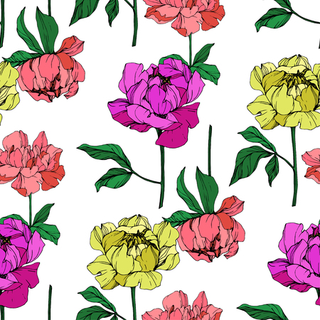Vector Purple and yellow peony floral botanical flower. Wild spring leaf wildflower isolated. Engraved ink art. Seamless background pattern. Fabric wallpaper print texture. Stock Photo