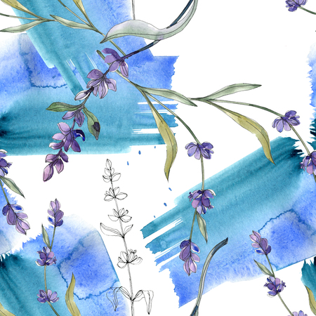 Purple lavender floral botanical flower. Wild spring leaf isolated. Watercolor illustration set. Watercolour drawing fashion aquarelle. Seamless background pattern. Fabric wallpaper print texture. Banque d'images - 117541045