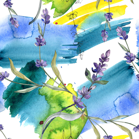 Purple lavender floral botanical flower. Wild spring leaf isolated. Watercolor illustration set. Watercolour drawing fashion aquarelle. Seamless background pattern. Fabric wallpaper print texture. Banque d'images - 117541047