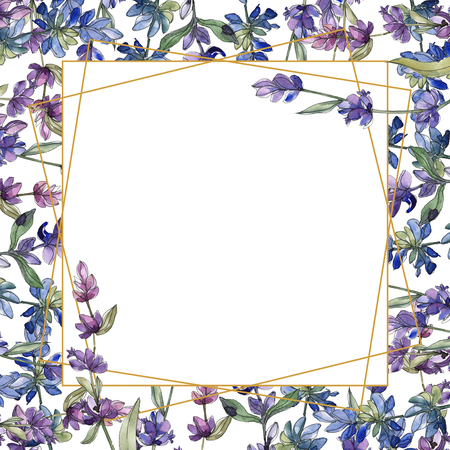 Purple lavender. Floral botanical flower. Wild spring leaf isolated. Watercolor illustration set. Watercolour drawing fashion aquarelle. Seamless background pattern. Fabric wallpaper print texture.