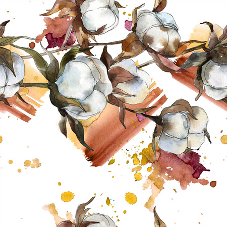 Cotton floral botanical flower. Watercolor background illustration set. Watercolour drawing fashion aquarelle isolated. Seamless background pattern. Fabric wallpaper print texture.