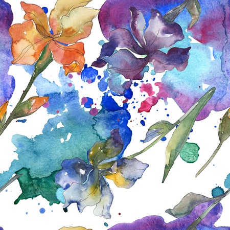Purple, red, orange and blue irises floral botanical flower. Watercolor background set. Watercolour drawing fashion aquarelle. Seamless background pattern. Fabric wallpaper print texture.
