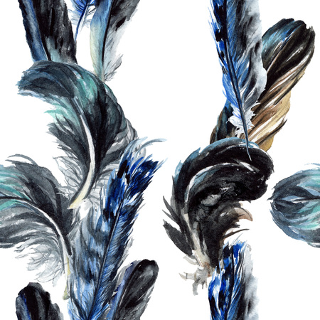 Blue black bird feather from wing isolated. Watercolor background illustration set. Watercolour drawing fashion aquarelle. Seamless background pattern. Fabric wallpaper print texture. Фото со стока