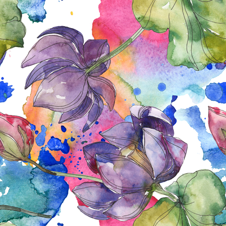 Pink and purple lotus botanical flower. Wild spring leaf isolated. Watercolor illustration set. Watercolour drawing fashion aquarelle. Seamless background pattern. Fabric wallpaper print texture. Banco de Imagens