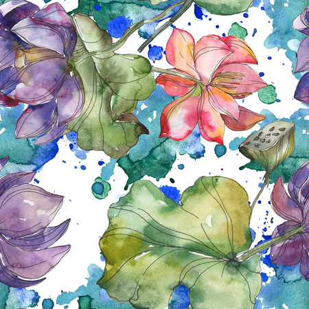 Pink and purple lotus botanical flower. Wild spring leaf isolated. Watercolor illustration set. Watercolour drawing fashion aquarelle. Seamless background pattern. Fabric wallpaper print texture. Stock Photo