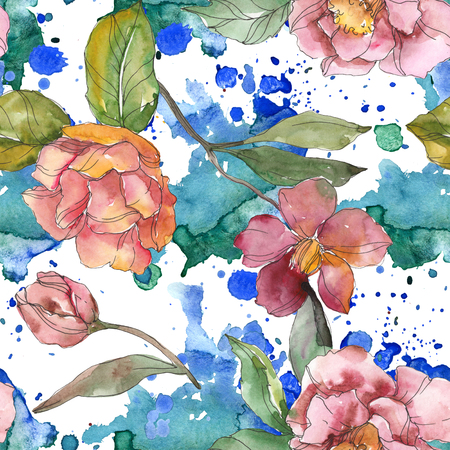 Red camelia. Floral botanical flower. Wild spring leaf. Watercolor background set. Watercolour drawing fashion aquarelle isolated. Seamless background pattern. Fabric wallpaper print texture.