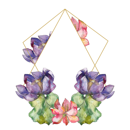 Pink and purple lotus foral botanical flower. Wild spring leaf wildflower isolated. Watercolor background illustration set. Watercolour drawing fashion aquarelle. Frame border ornament square.