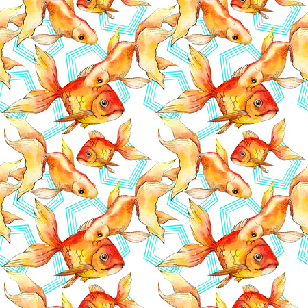 Watercolor aquatic underwater colorful tropical fish background illustration set. Watercolour drawing fashion aquarelle isolated. Seamless background pattern. Fabric wallpaper print texture. Imagens - 117540663