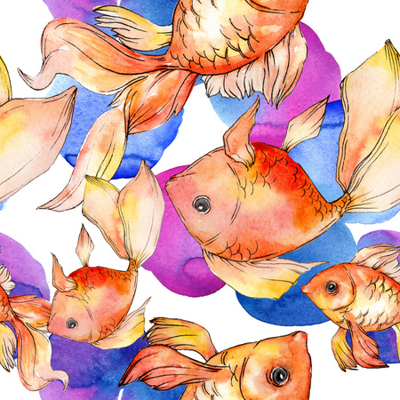 Watercolor aquatic underwater colorful tropical fish background illustration set. Watercolour drawing fashion aquarelle isolated. Seamless background pattern. Fabric wallpaper print texture. Banco de Imagens