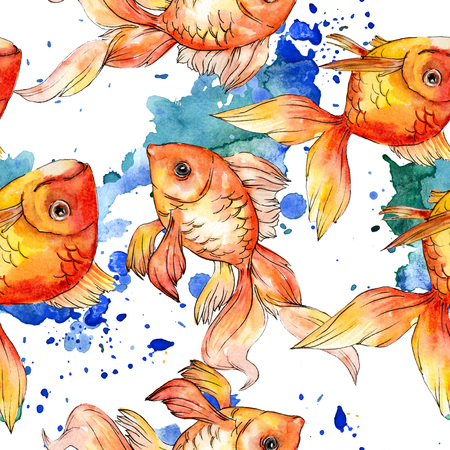 Watercolor aquatic underwater colorful tropical fish background illustration set. Watercolour drawing fashion aquarelle isolated. Seamless background pattern. Fabric wallpaper print texture. Banco de Imagens - 117540485