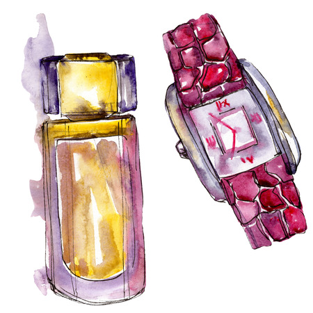 Parfume and watch sketch fashion glamour illustration in a watercolor style isolated. Watercolour clothes accessories set trendy vogue outfit. Aquarelle fashion sketch for background, texture.