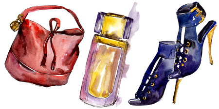 Shoes, parfume and bag sketch fashion glamour illustration in a watercolor style isolated. Watercolour clothes accessories set trendy vogue outfit. Aquarelle fashion sketch for background, texture.