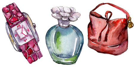 Parfume, watch and bag sketch fashion glamour illustration in a watercolor style isolated. Watercolour clothes accessories set trendy vogue outfit. Aquarelle fashion sketch for background, texture.
