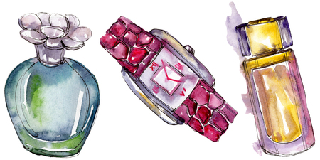 Parfume and watch sketch fashion glamour illustration in a watercolor style isolated. Watercolour clothes accessories set trendy vogue outfit. Aquarelle fashion sketch for background, texture. Banque d'images - 117582173