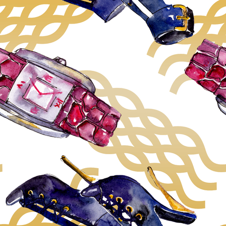 Parfume, watch, shoes and bag sketch fashion glamour illustration in a watercolor style. Watercolour clothes accessories set trendy vogue outfit. Aquarelle fashion sketch for seamless pattern.