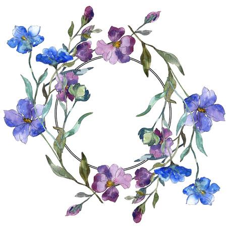 Blauw paarse vlas bloemen botanische bloem. Wild voorjaar blad wildflower geïsoleerd. Aquarel achtergrond afbeelding instellen. Aquarel tekenen mode aquarelle geïsoleerd. Frame grens ornament vierkant. Stockfoto