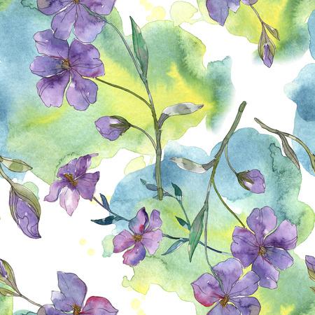 Blue and purple flax botanical flower. Wild spring leaf isolated. Watercolor illustration set. Watercolour drawing fashion aquarelle. Seamless background pattern. Fabric wallpaper print texture.