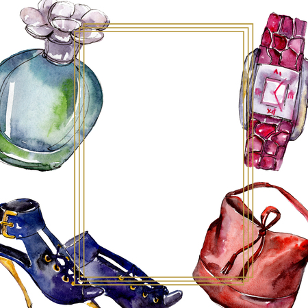 Parfume, watch, shoes and bag sketch fashion glamour illustration in a watercolor style. Watercolour clothes accessories set trendy vogue outfit. Aquarelle sketch for background, frame or border.