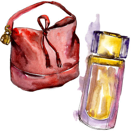 [Item] [color] sketch fashion glamour illustration in a watercolor style isolated. Watercolour clothes accessories set trendy vogue outfit. Aquarelle fashion sketch for background, texture. Banco de Imagens