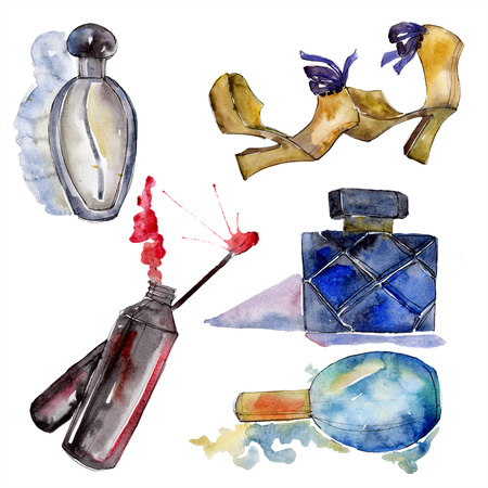 Lip gloss, shoes and perfume sketch fashion glamour illustration in a watercolor style isolated element. Clothes accessories set trendy vogue outfit. Watercolour background illustration set.
