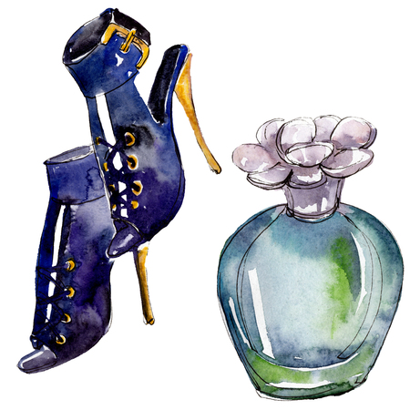 [Item] [color] sketch fashion glamour illustration in a watercolor style isolated. Watercolour clothes accessories set trendy vogue outfit. Aquarelle fashion sketch for background, texture. Stok Fotoğraf