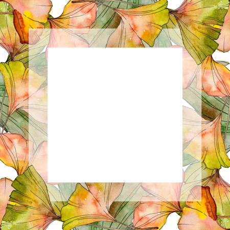 Green yellow ginkgo biloba leaf. Leaf plant botanical garden floral foliage. Watercolor background illustration set. Watercolour drawing fashion aquarelle isolated. Frame border ornament square. Foto de archivo - 117582722