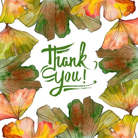 Green yellow ginkgo biloba leaf. Leaf plant botanical garden floral foliage. Watercolor background illustration set. Watercolour drawing fashion aquarelle isolated. Frame border ornament square. Foto de archivo - 117540433