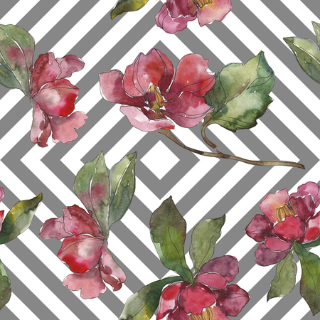 Red and purple camelia botanical flower. Wild spring leaf. Watercolor illustration set. Watercolour drawing fashion aquarelle isolated. Seamless background pattern. Fabric wallpaper print texture. Stock fotó