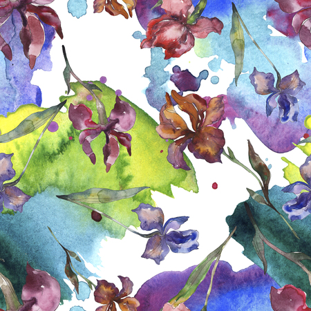 Purplr ahd red irises flower. Wild spring leaf wildflower. Watercolor illustration set. Watercolour drawing fashion aquarelle isolated. Seamless background pattern. Fabric wallpaper print texture.