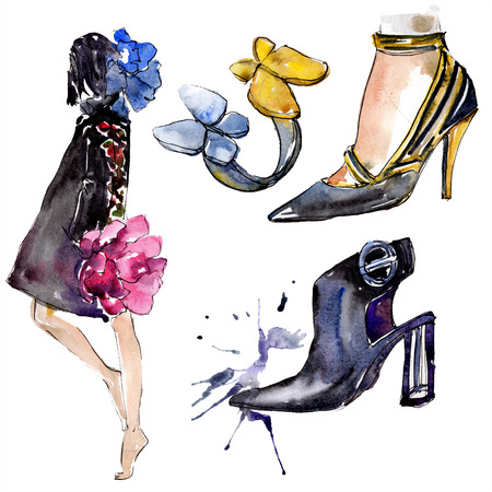Woman, ring and shoes sketch fashion glamour illustration in a watercolor style isolated element. Clothes accessories set trendy vogue outfit. Watercolour background illustration set.