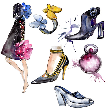 sketch fashion glamour illustration in a watercolor style isolated element. Clothes accessories set trendy vogue outfit. Watercolour background illustration set. Stockfoto