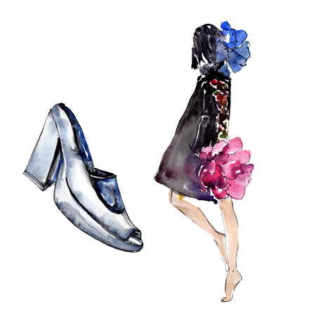 Woman and shoe sketch fashion glamour illustration in a watercolor style isolated element. Clothes accessories set trendy vogue outfit. Watercolour background illustration set. Stok Fotoğraf