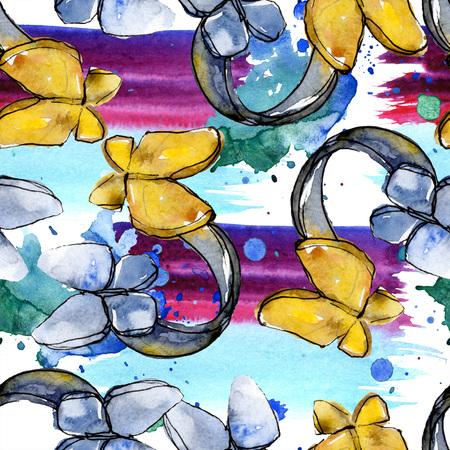 Fashionable sketch fashion glamour illustration in a watercolor style element. Clothes accessories set trendy vogue outfit. Watercolour set seamless background pattern. Fabric wallpaper print texture. Stockfoto - 117584931