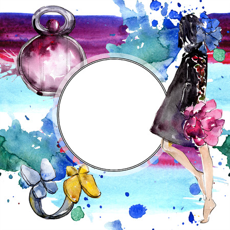 Fashionable sketch in a watercolor style isolated element. Clothes accessories set trendy vogue outfit. Watercolour background illustration set. Frame border ornament square.