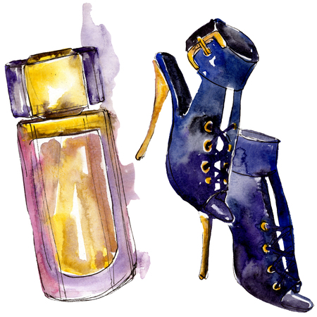 Parfume and shoes sketch fashion glamour illustration in a watercolor style isolated. Watercolour clothes accessories set trendy vogue outfit. Aquarelle fashion sketch for background, texture.