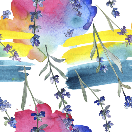 Purple lavender botanical flower. Wild spring leaf wildflower. Watercolor illustration set. Watercolour drawing fashion aquarelle isolated. Seamless background pattern. Fabric wallpaper print texture. Stock Photo